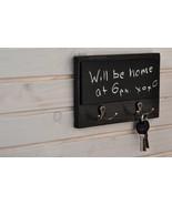 Key Holder for Wall with Chalkboard, Dog Leash & Coat Holder, Memo Board... - $19.12