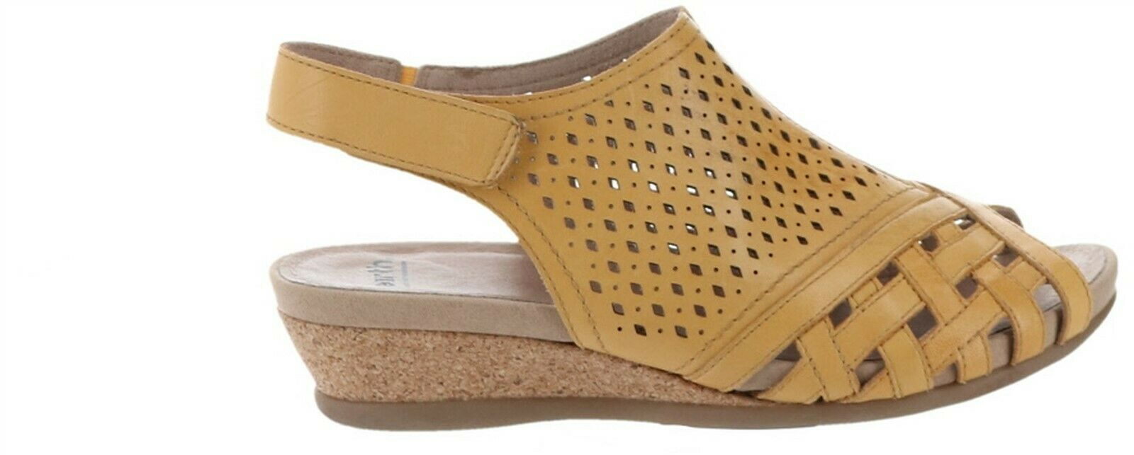 Earth Leather Perforated Wedge Sandals-Pisa Galli Amber Yellow 8M NEW A346894 image 1