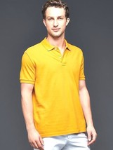 New Gap Slim Fit Men Short Sleeve Polo Shirt Yellow Size L - $21.77