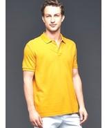 New Gap Slim Fit Men Short Sleeve Polo Shirt Yellow Size L - $21.77