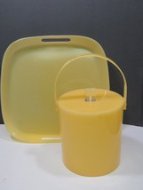 Vintage George Briard Butter Yellow Ice Bucket and Tray Mid Century Modern  - $81.18