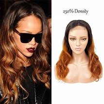 Ombre Lace Closure 4X4 Human Hair Wigs Body Wave 1B/30 Brown Color 10A S... - $68.10