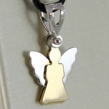 18K YELLOW AND WHITE GOLD PENDANT WITH STYLIZED GUARDIAN ANGEL MADE IN I... - $118.00