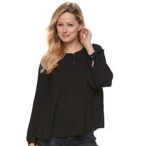 Apt. 9® Long Sleeve Pleated Blouse BLACK  Women's Sz XL NWOT MSRP$36 - $21.84