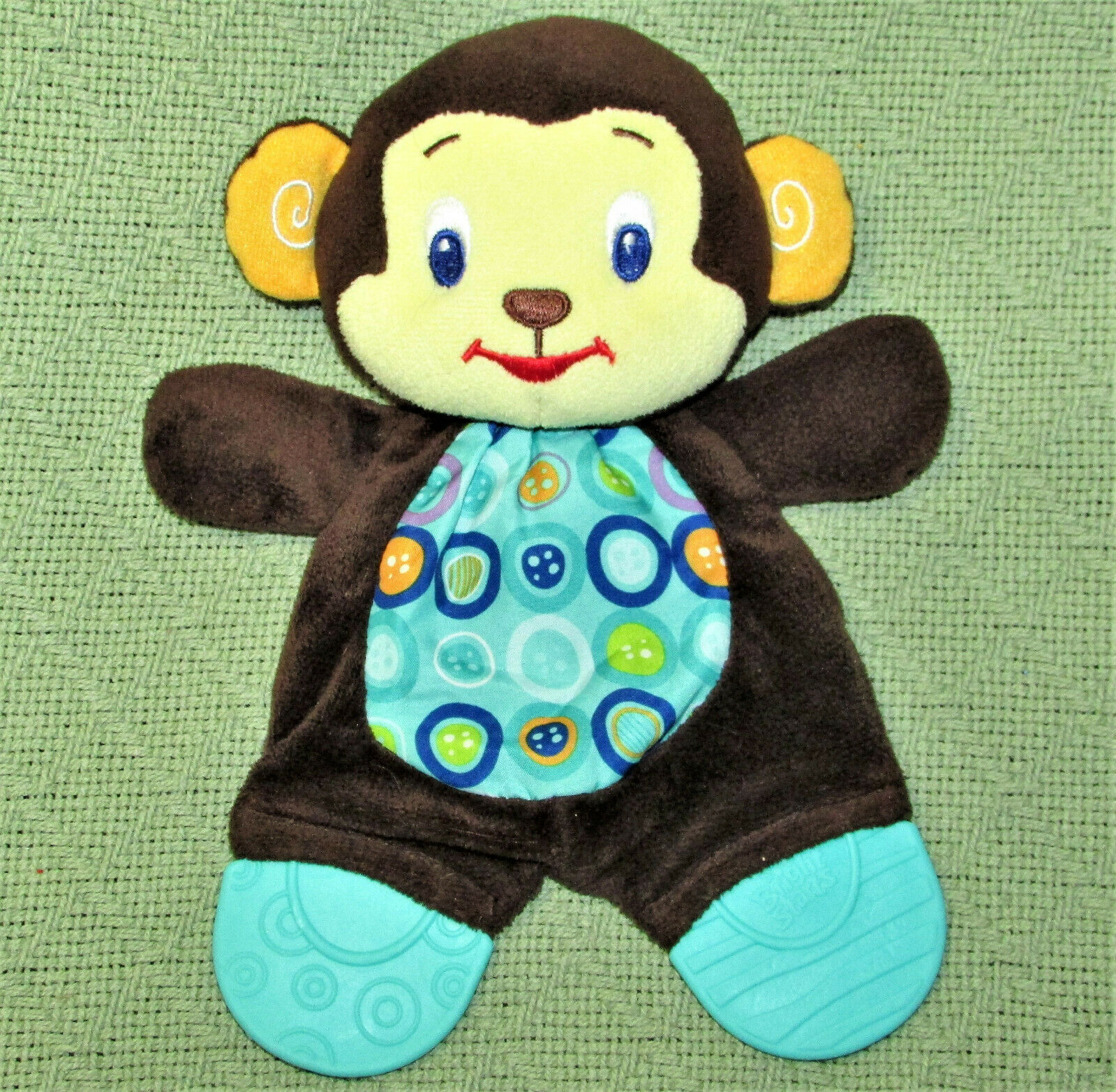 "Primary image for BRIGHT STARTS MONKEY BABY PLUSH TOY 10"" TEETHER CRINKLE TUMMY BROWN BLUE ANIMAL"