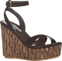 Miu Miu Prada Camoscio Teak Leather Platform Wedge Heels 38.5 5XZ255 NIB - $222.26