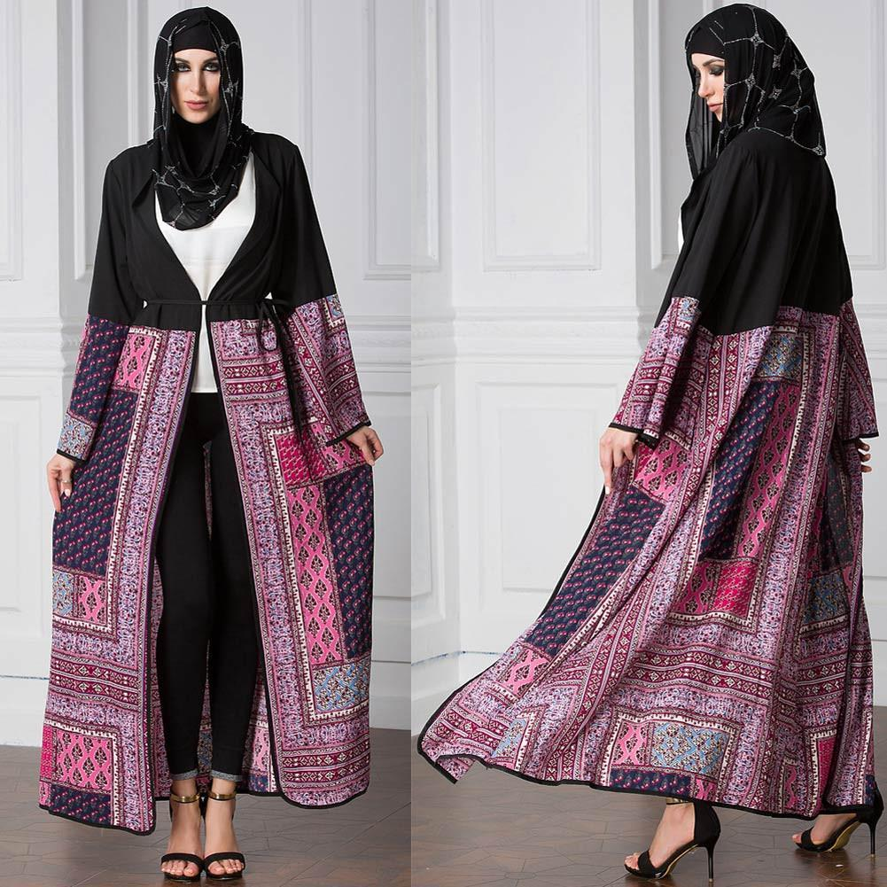 Primary image for Vintage Boho Women Plus Size Muslim Cardigan Geometric Print Long Gown Islamic A