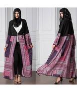 Vintage Boho Women Plus Size Muslim Cardigan Geometric Print Long Gown I... - $85.36