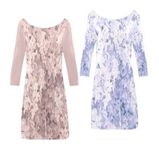 Light Pink or Blue Floral Flower Rose Print Dress Above the Knee Length - $49.99+