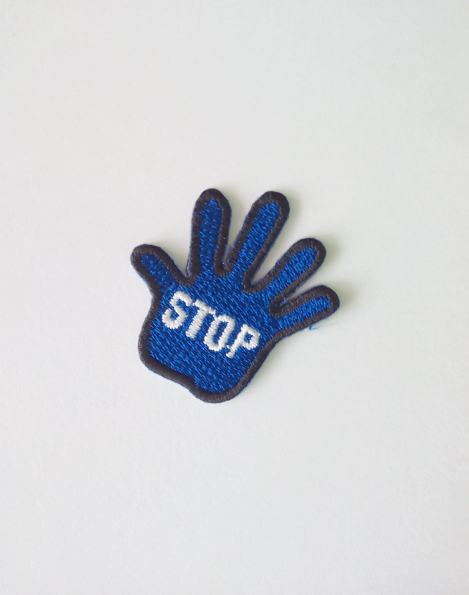 "Primary image for Small Stop Sign/Hand Stop Iron On/Sew on patch Badge (1 1/4"" x 1 1/4"")"