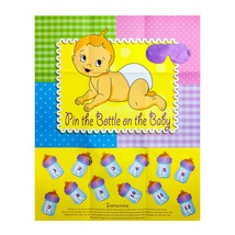Baby Shower Game PIN THE BOTTLE ON THE BABY Party Fun Blindfold Baby Poster - ₨336.60 INR