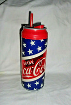 Coca Cola Hard Plastic Cooler Cup Tumbler Star Spangled Banner with straw & tab - $5.69