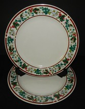 2 Majesticware Holly Berry Flower Christmas  Stoneware Holiday Dinner Pl... - $32.66