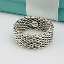 Size 9.5 Tiffany & Co Sterling Silver Somerset Mesh Weave Mens Unisex Ring - $275.00