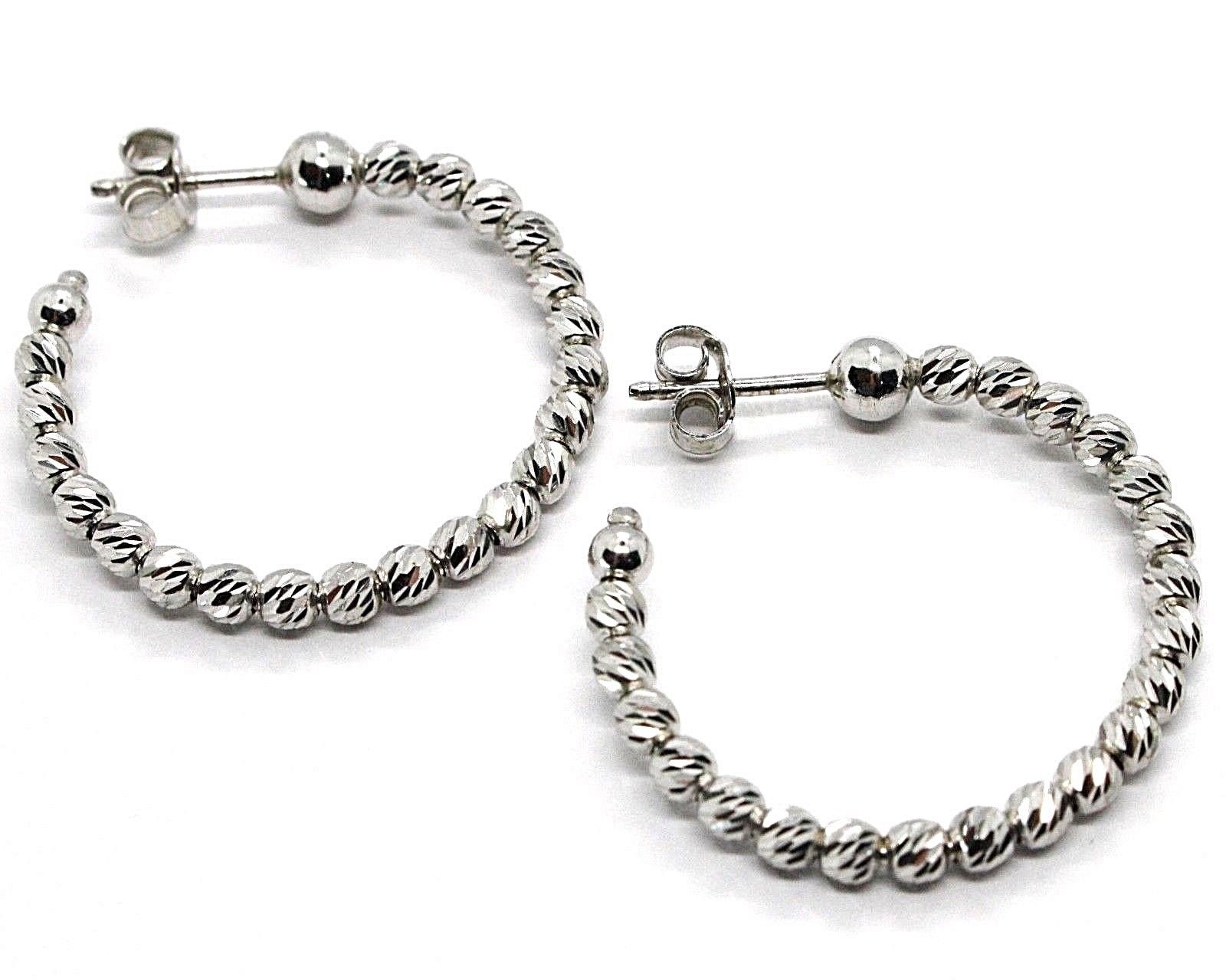 925 STERLING SILVER OFFICINA BERNARDI DIAMOND CUT HOOPS EARRINGS SPHERES 28 MM