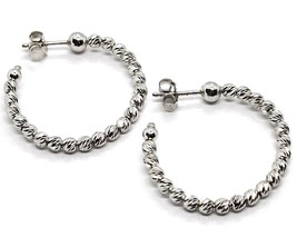 925 STERLING SILVER OFFICINA BERNARDI DIAMOND CUT HOOPS EARRINGS SPHERES 28 MM   image 1