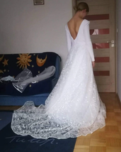 Booma Lace Long Sleeve V-neck Backless Satin Wedding Gown Plus Sizes image 10