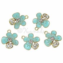 Robins Egg Blue Flower Wholesale Gold Plated Enamel Charms C3021 - 3PCs ... - $14.00+