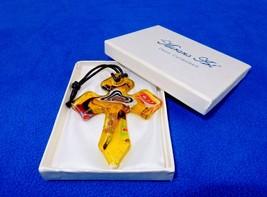 Glass Cross Charm/Pendant, Gold/Red/Black, Murano Art Glass, Gift Box, #... - $8.77