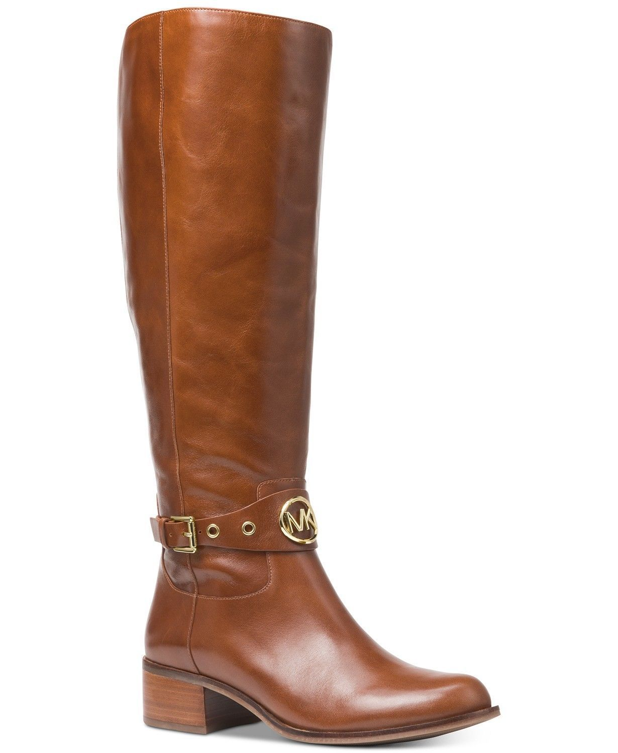 Michael Kors MK Women's Knee High Leather Heather Riding Boots Dark Caramel