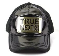 NEW TRUE RELIGION MEN'S PREMIUM GOLD METAL LOGO TRUCKER HAT CAP BLACK TR1965