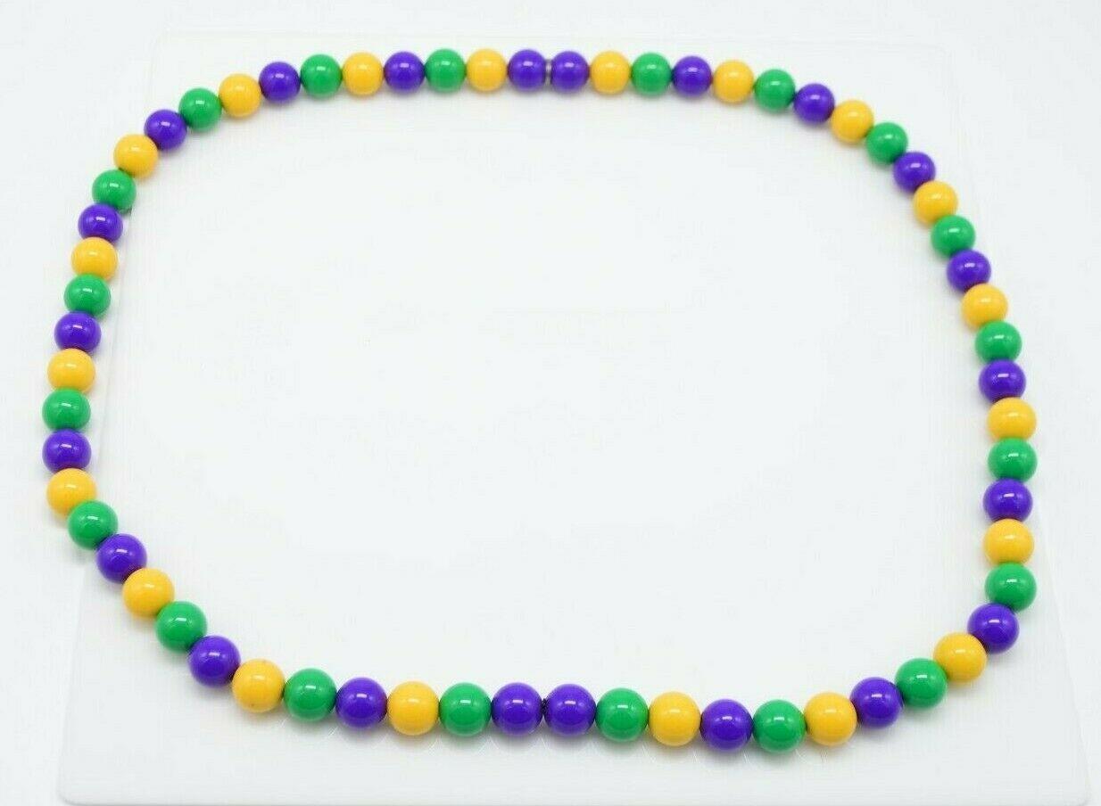 Purple Green Yellow Mardi Gras Acrylic Long Bead Beaded Necklace - $24.74