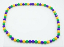Purple Green Yellow Mardi Gras Acrylic Long Bead Beaded Necklace - $24.74