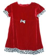JANA MICHELLE Red Velvet Dress with Black White animal Print Trim Toddle... - $8.90