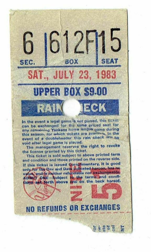 1983 MLB Regular Season Ticket July 23rd Royals at Yankees Guidry Win - $14.00
