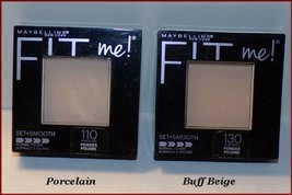 New Maybelline Fit Me Set + Smooth Pressed Powder #110 Porcelain #130 Buff Beige - $7.95