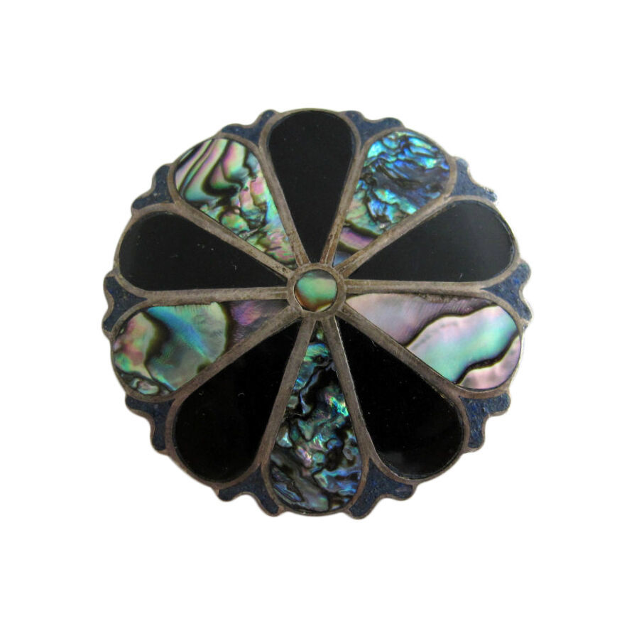 A. Garcia Sterling Silver Abalone, Black Onyx & Lapis Inlay Pendant Brooch