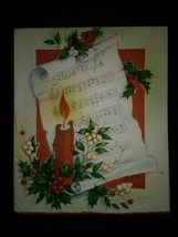 Burning Candle Music Vintage Christmas Card - $4.00