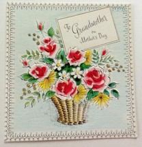 Unused Vintage Card Volland Mother's Day to Grandmother Flower Basket - $12.86