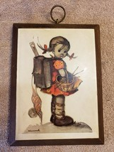 Wood Wall Art Plaque German Hummel Paper On Wood Girl with Basket - $12.86