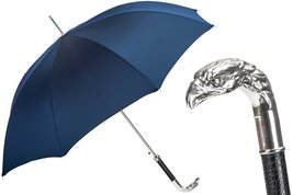 PASOTTI Blue Umbrella, Silver Eagle Handle NEW - $198.36+