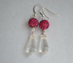 Handmade Crystal Waterdrop Cone Hot Pink Pave Ball Silver Plated Dangle Earring - $14.50