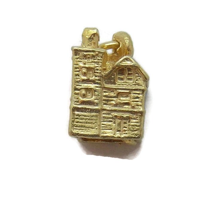 ANTIQUE HOUSE PENDANT CHARM. 14K YELLOW GOLD!!