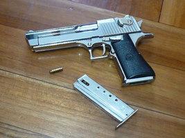 Silver color Desert Eagle Pistol Display model, Downsized (~1/2.5), Metal - $18.88
