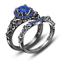 Bridal Wedding Ring Set Blue Sapphire 14k Black Gold Fn 925 Silver & Free Gift - $79.49