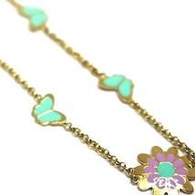 """18K YELLOW GOLD GIRL BRACELET ENAMEL PURPLE GREEN FLOWER DAISY, BUTTERFLY, 6.3"""" image 2"""