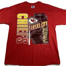 90s Single Stitch Kansas City KC Chiefs Football T-Shirt Large Hanes Hea... - $21.01