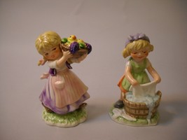 Set of 2 GOEBEL Figurines TMK 6 GIRL WASHING CLOTHES & GIRL HOLDING BASKET - $19.79