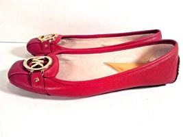 MICHAEL KORS LEATHER WOMEN'S RED SHOES FLATS SLIP ON SIZE 7.5M Fulton Moc - $59.95