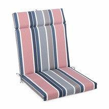 "Red Blue Striped Outdoor Patio Chair Cushion Pad Hinged Seat Back 44"" L ... - $58.90"