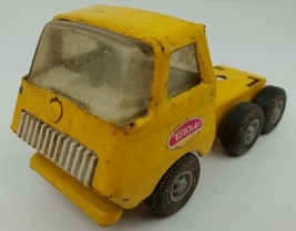 Vintage Tonka Mini Pressed Steel Yellow Semi Tractor Trailer Truck Cab Toy - $14.01
