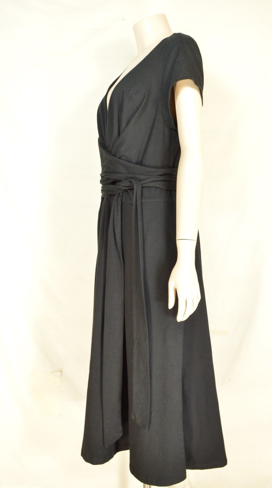 eShakti Custom dress SZ XL black heavy knit low cut neck self tie at waist