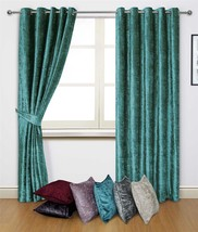 """CRUSHED VELVET TEAL RING TOP CURTAINS *8 SIZES* & 4 X 17"""" CUSHION COVERS - $73.43+"""