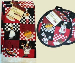 Fat Chef Kitchen Set 4-pc Towels Potholders Cupcake Dessert Cook Red Black Check - $15.99