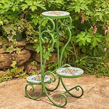 Zaer Ltd. Mosaic Tile Furniture (3 Pot Plant Stand, Sydney Green) - $99.95