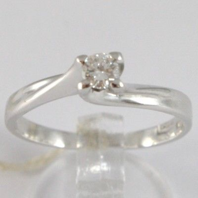 WHITE GOLD RING 750 18K, SOLITAIRE, BRAIDED CRISS CROSSED, DIAMOND CT 0.18
